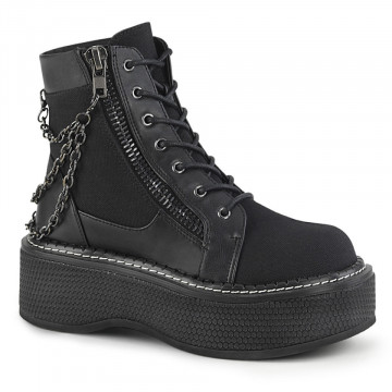 Demonia EMILY-114 Blk Canvas-Vegan Leather