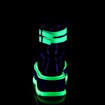 Demonia SLACKER-52 Blk Pat-UV Iridescent Green
