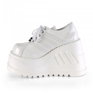 Demonia STOMP-08 Wht Pat-Vegan Leather
