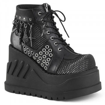 Demonia STOMP-18 Blk Vegan Leather-Grey Velvet