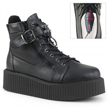 Demonia V-CREEPER-566 Blk Vegan Leather