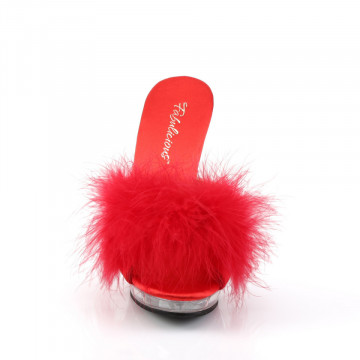 Fabulicious LIP-101-8 Red Satin-Fur/Clr