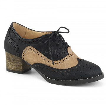 Pin Up Couture RUSSELL-34 Black-Tan Faux Leather