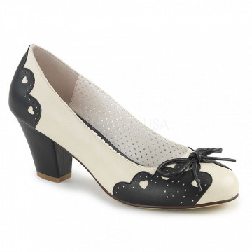 Pin Up Couture WIGGLE-17 Blk-Cream Faux Leather