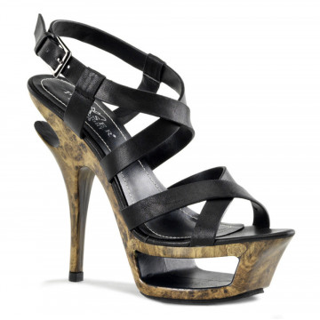 Pleaser Day & Night DELUXE-636 Blk Leather