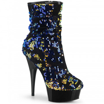 Pleaser DELIGHT-1004 Blue Iridescent Sequins/Blk