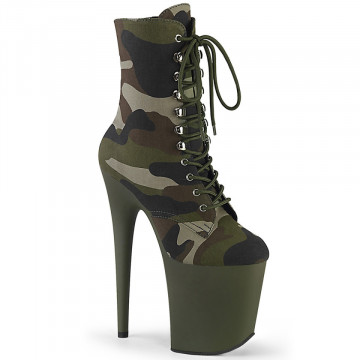 Pleaser FLAMINGO-1020CAMO Green Camo Fabric/Dark Olive Matte