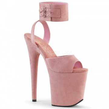 Pleaser FLAMINGO-891 Pink Faux Suede/Pink Faux Sue