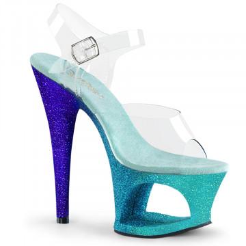 Pleaser MOON-708OMBRE Clr/Aqua-Blue Ombre