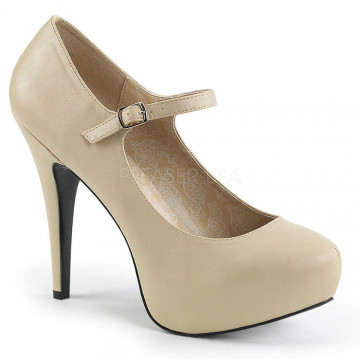 Pleaser Pink Label CHLOE-02 Cream Faux Leather