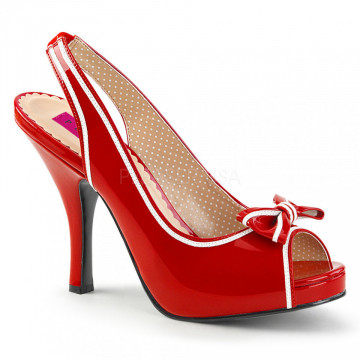 Pleaser Pink Label PINUP-10 Red-Wht Pat