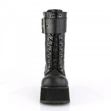 Demonia PETROL-150 Blk Vegan Leather