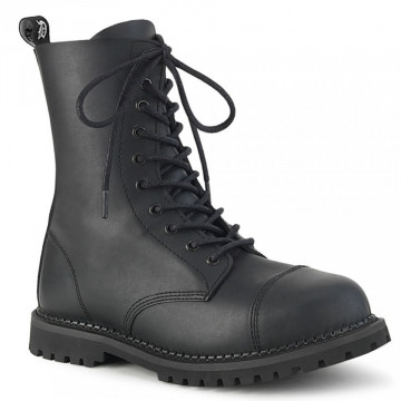 Demonia RIOT-10 Blk Vegan Leather