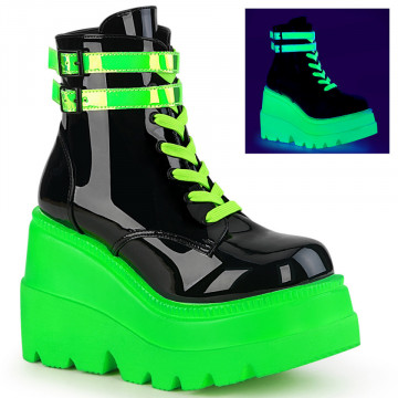 Demonia SHAKER-52 Blk Pat-UV Neon Green