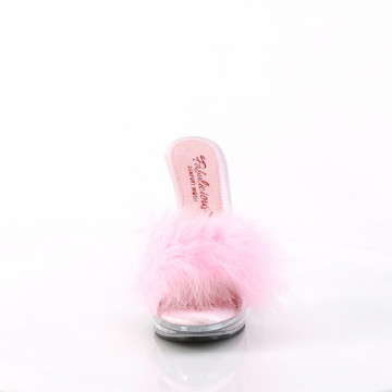 Fabulicious GLORY-501F-8 B. Pink Faux Leather-Fur/