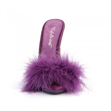 Fabulicious POISE-501F Purple Satin-Marabou Fur/Pu