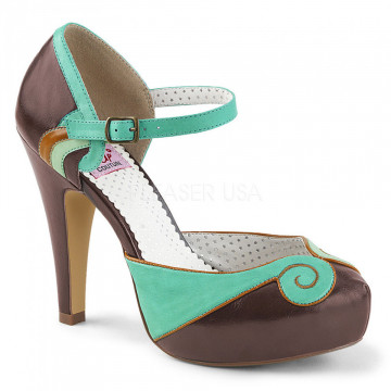 Pin Up Couture BETTIE-17 Teal-Brown Faux Leather