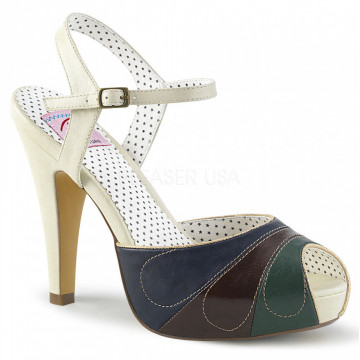 Pin Up Couture BETTIE-27 Cream Multi Faux Leather