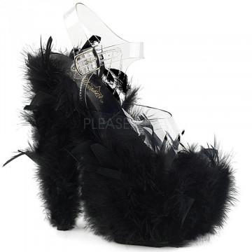 Pleaser ADORE-708F Clr/Blk Marabou Feather