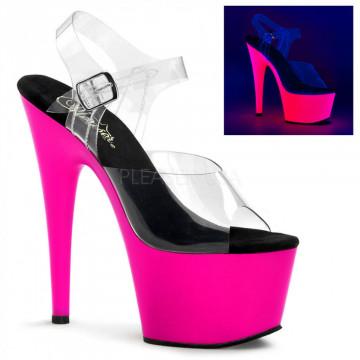 Pleaser ADORE-708UV Clr/Neon Pink