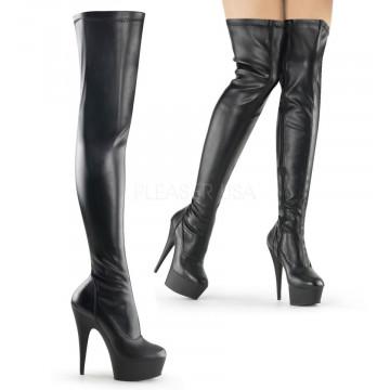 Pleaser DELIGHT-3000 Blk Str Faux Leather/Blk Matt