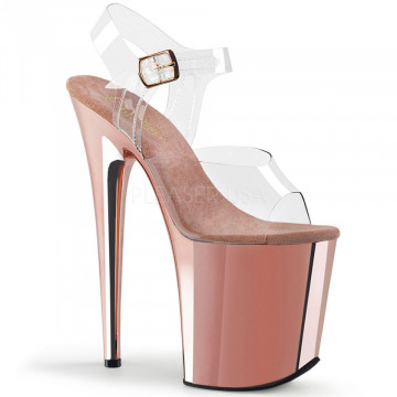 Pleaser FLAMINGO-808 Clr/Rose Gold Chrome
