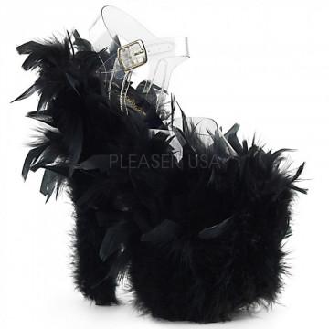 Pleaser FLAMINGO-808F Clr/Blk Marabou Feather