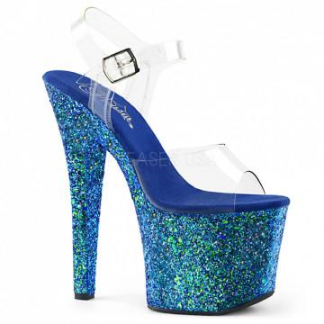Pleaser RADIANT-708LG Clr/Blue Holo Glitter
