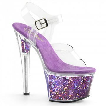 Pleaser SKY-308GF Clr/Lavender Multi Glitter