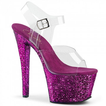 Pleaser SKY-308LG Clr/Purple Glitter