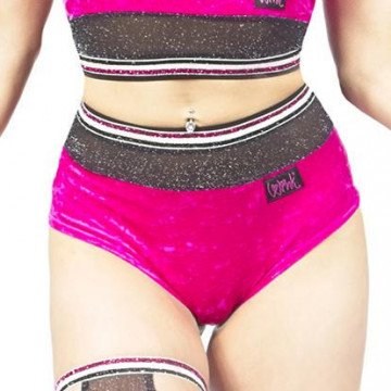 Wink GLITTER MIST HIGH WAIST SHORTS W0211 (BLACK OR RASPBERRY)
