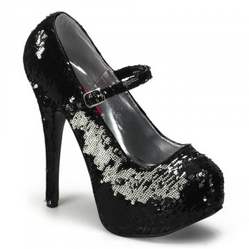 Bordello TEEZE-07SQ Blk-Slv Sequins