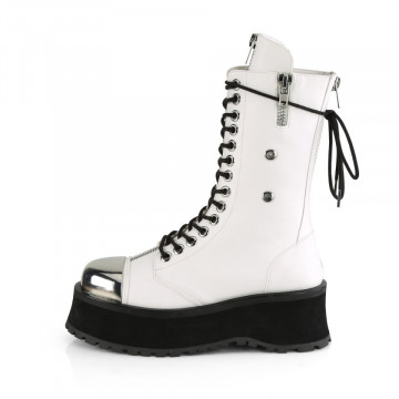 Demonia GRAVEDIGGER-14 Wht Vegan Leather