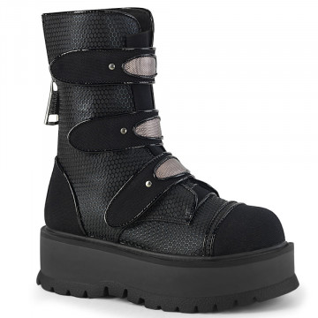 Demonia SLACKER-101 Blk Vegan Leather-Canvas
