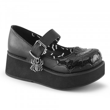 Demonia SPRITE-05 Blk Vegan Leather-Blk Pat