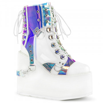 Demonia SWING-115 Wht Vegan Leather-Pat-Magic Mirror TPU