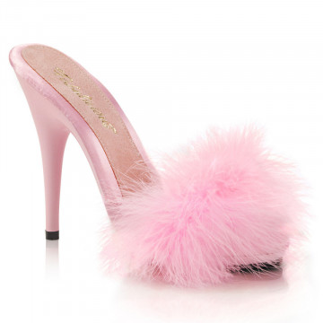 Fabulicious POISE-501F B. Pink Satin-Marabou Fur/B. Pink