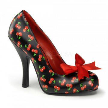 Pin Up Couture CUTIEPIE-06 Blk-Red Pu (Cherries Print)