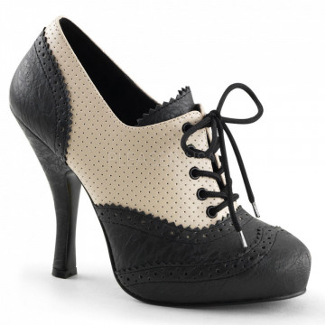 Pin Up Couture CUTIEPIE-14 Cream-Blk Distressed Pu