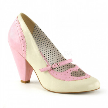 Pin Up Couture POPPY-18 B. Pink-Cream Faux Leather