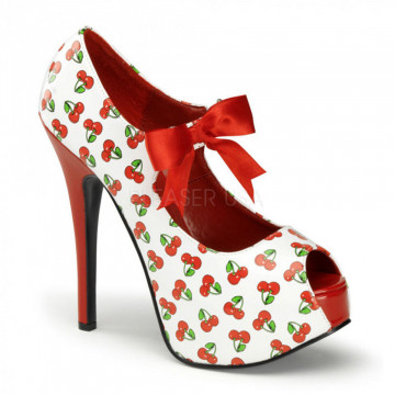 Pin Up Couture TEEZE-25-3 Wht-Red Pat (Cherries Print)