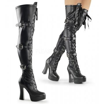 Pleaser ELECTRA-3028 Blk Str Faux Leather