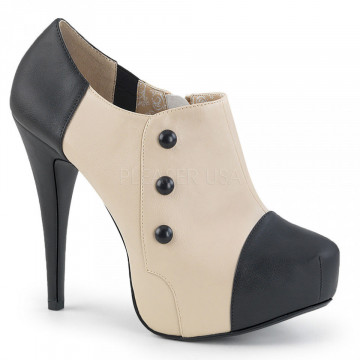 Pleaser Pink Label CHLOE-11 Blk-Cream Faux Leather