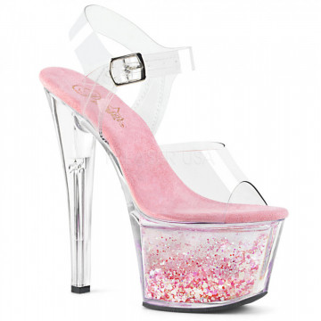 Pleaser SKY-308WHG Clr/Clr-Baby Pink Glitter