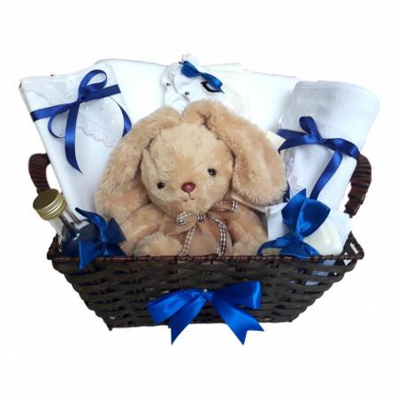 Cos cadou trusou botez, Iepuras, decor Albastru, 12 piese, Denikos® 650