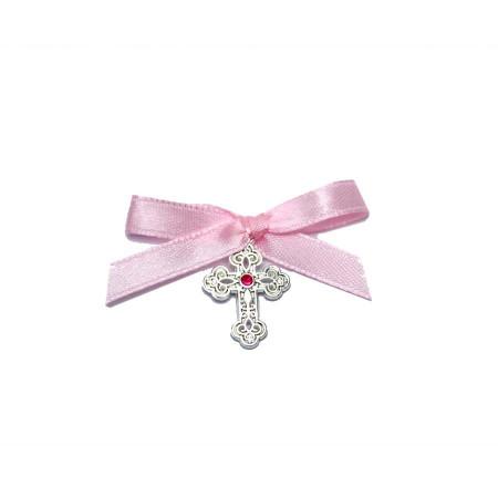 Cruciulite botez stras central, fundita roz Denikos® 92