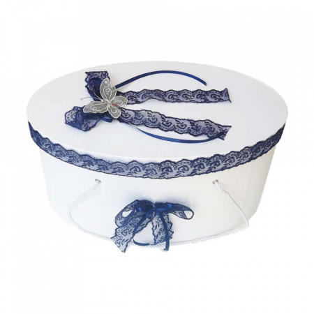Cutie trusou botez dantela bleumarin si fluturas, Denikos® 380