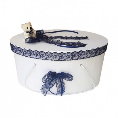 Cutie trusou botez dantela bleumarin si ursulet, Denikos® 395