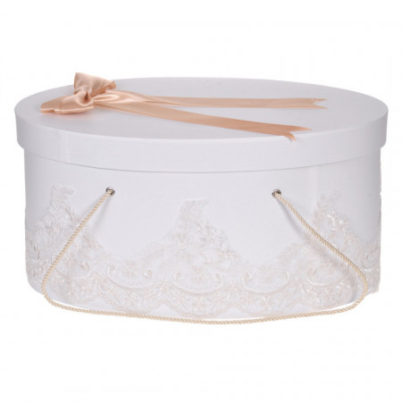 Cutie trusou botez dantela ivoire, eleganta si o fundita asortata, Denikos® 821