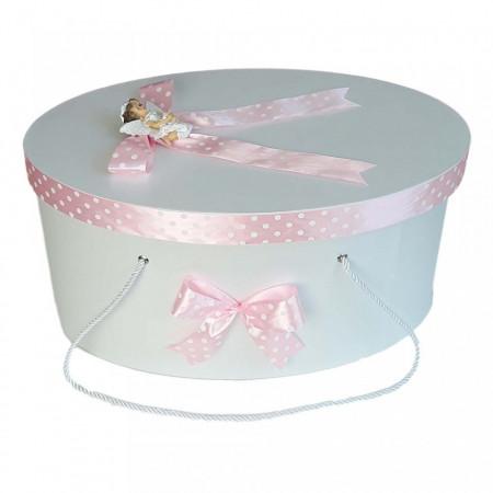 Cutie trusou botez fundite roz cu buline si ingeras, Denikos® 9